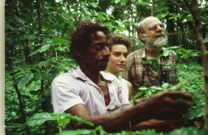 José Morales introduces Ometepe coffee to Asha Esterberg and David Mitchell June 1988. Photo Kim Esterberg